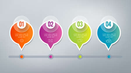 four: Four steps infographics - can illustrate a strategy, workflow or team work. Illustration