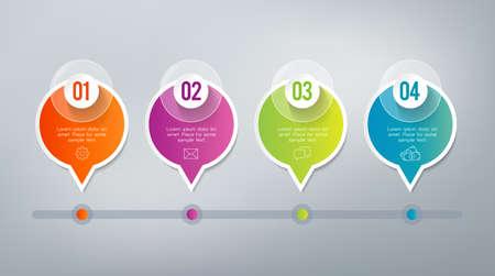 Vier stappen infographics - kan een strategie, workflow of een team werken te illustreren.