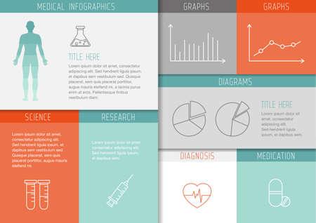 Medizinischer Hintergrund mit dünnen Linien icons - Vorlage, Benutzeroberfläche für Web oder Print. Kann eine medizinische oder Gesundheits Thema illustrieren. Vektorgrafik