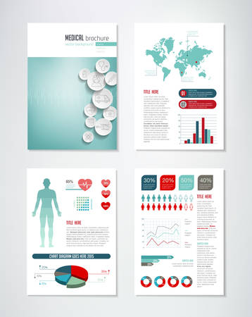 Medical brochure template with charts and infographics elements.