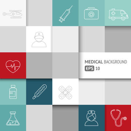 healthcare: Medical background with thin lines icons - template for web or print. Can illustrate any medical or healthcare topic.