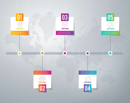 globe arrow: Infographic - can be used as options or five steps in a process or as a timeline.