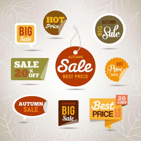 Collezione di adesivi di vendita autunno - badge con foglie e alberi. Può essere utilizzato web fr o stampare. Vettoriali