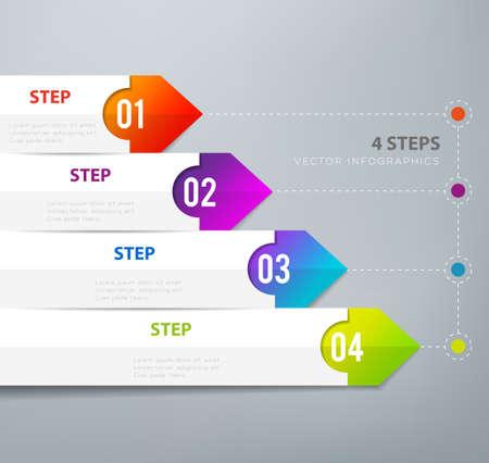 4 つのステップのインフォ グラフィック - は、戦略、ワークフローまたはチームの作業を示すことができます。  イラスト・ベクター素材