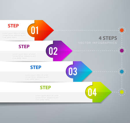 Four steps infographics - can illustrate a strategy, workflow or team work. Vectores