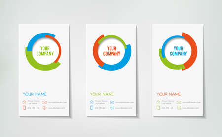 Collection of three elegant business cards for a company. Minimalistic style, flat design. Illustration