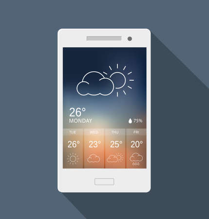 widget: Weather widget on a mobile phone. Can be used as a design for an application or to illustrate possible use of a mobile phone.