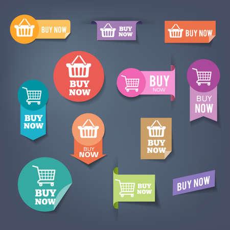 """Het verzamelen van verkoop knoppen """"Nu kopen"""". Kleurrijke platte design stijl. Stock Illustratie"""