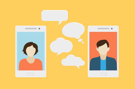 Concept of a mobile chat or conversation of people via mobile phones. Can be used to illustrate globalization, connection, phone calls or social media topics. Ilustração