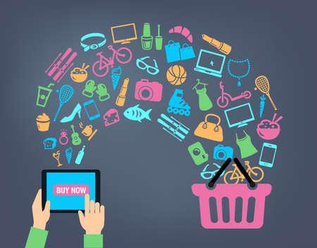 Koszyk tle koncepcji z ikonami - zakupy on-line, za pomocą komputera, tabletu lub smartfona. Mogą być wykorzystane do zilustrowania mobilnych tematów komunikacyjnych czy konsumpcjonizm.