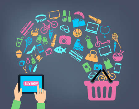baskets: Shopping background concept with icons - shopping online, using a PC, tablet or a smartphone. Can be used to illustrate mobile communication topics or consumerism. Illustration