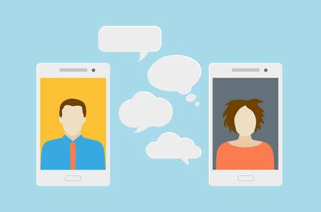 Concetto di una chat mobile o di una conversazione di persone attraverso i telefoni cellulari. Può essere usato per illustrare globalizzazione, connessione, telefonate o argomenti di social media. Vettoriali