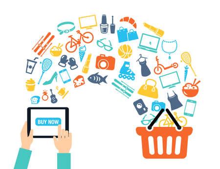 tiendas de comida: Compras del concepto del fondo con los iconos - compras en línea, utilizando un PC, tableta o un teléfono inteligente. Se puede utilizar para ilustrar los temas de comunicaciones móviles o el consumismo.