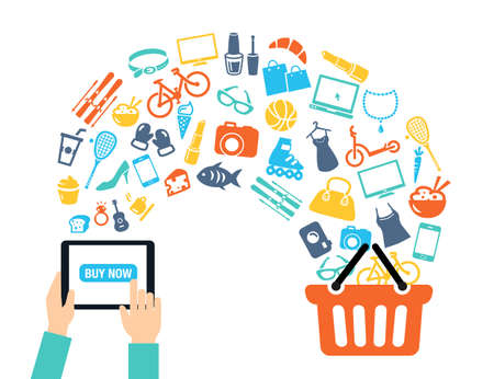 Shopping background concept with icons - shopping online, using a PC, tablet or a smartphone. Can be used to illustrate mobile communication topics or consumerism. Ilustração