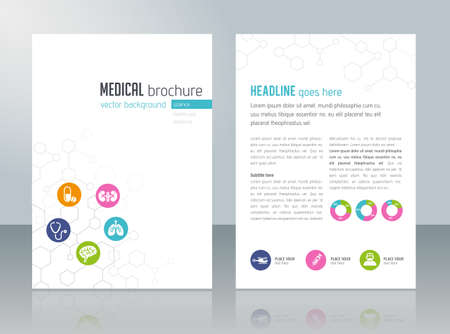 medicine and science: Brochure template - medical topics, healthcare, science, technology.