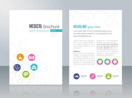 brochure: Modelo del folleto - temas médicos, cuidado de la salud, la ciencia, la tecnología.