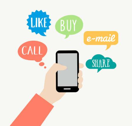 スマート フォンのコンセプト - オンライン ショッピング、ネットワー キング、インターネット、スマート フォンを介して通信します。