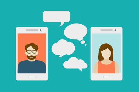 Concetto di una chat mobile o di una conversazione di persone attraverso i telefoni cellulari. Può essere usato per illustrare globalizzazione, connessione, telefonate o argomenti di social media.