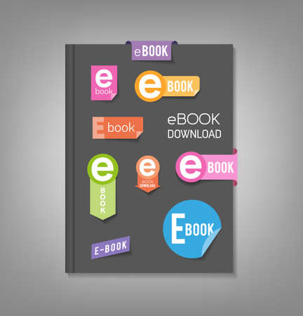 downloads: Brochure template, book cover with e-book download stickers Illustration