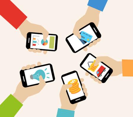 携帯アプリのコンセプト - ソーシャルネットワー キング、オンライン ビジネス、コミュニケーション。