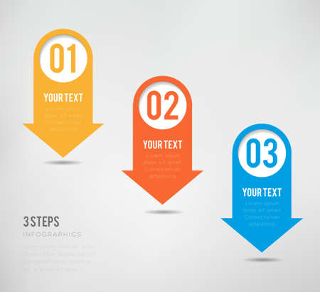 illustrate: Three steps infographics - can illustrate a strategy or a workflow Illustration