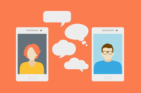 Concept of a mobile chat or conversation of people via mobile phones. Can be used to illustrate globalization, connection, phone calls or social media topics. 일러스트