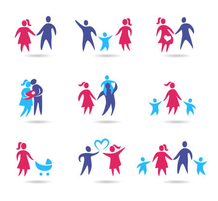 young relationship: Collection of family icons - young couple in a relationship and with kids