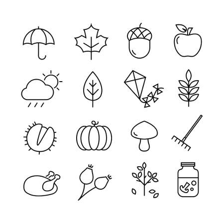 Collection of autumn icons - atumn symbols and activities. Thin lines style.