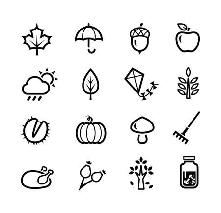 fall: Collection of icons representing autumn season and autumn activities Illustration