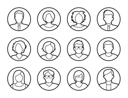 profile: Collection of characters - avatars. Can be used as profile pictures in online apps, games. Can also illustrate social networking. Illustration