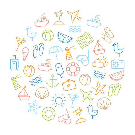 Background with icons representing summer, holidays and relaxing on the beach. Modern, thin lines style design.  イラスト・ベクター素材