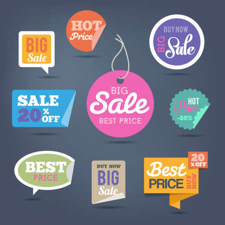 Collection of sales labels and stickers for web or print.