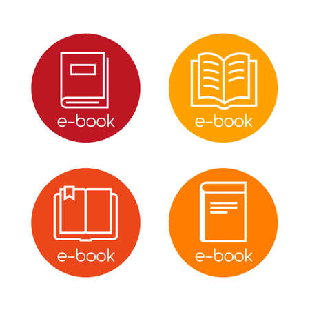 Collection of e-book download icons. Thin lines design.
