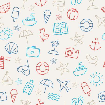 spiaggia: Seamless pattern con icone che rappresentano estate, mare e relax sulla spiaggia. Può essere usato come una carta da parati - sia in formato cartaceo o web.