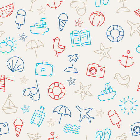 beach: Seamless pattern with icons representing summer, sea and relaxing on the beach. Can be used as a wallpaper - both in print or web.