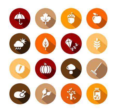 秋アイコン - 秋の記号および活動のコレクション