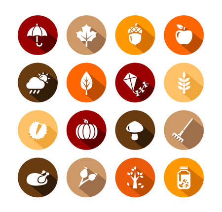 Collection of Autumn Icons - autumn symbols and activities