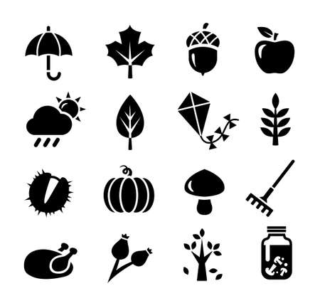 pickle: Collection of icons representing autumn season and autumn activities Illustration