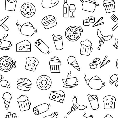 Seamless pattern with thin lines icons related to food, cooking and kitchen equipment Illustration