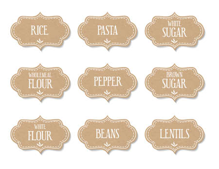 wholemeal: Cardboard food labels or stickers. Can be used to mark kitchen food containers. Illustration