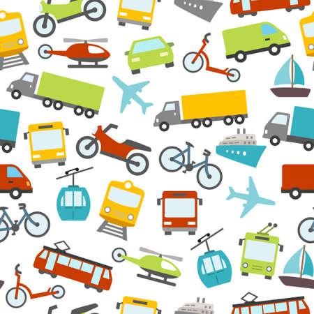 Patrón sin fisuras con los coches, autobuses, tranvías y otros medios de transporte. Puede ser utilizado como una decoración de fondo de pantalla o como un diseño para una tarjeta imprimible.