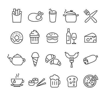comida chatarra: Colección de iconos que representan las líneas finas y cocinar los alimentos. Adecuado para impresión, Web o el diseño de aplicaciones móviles. Vectores