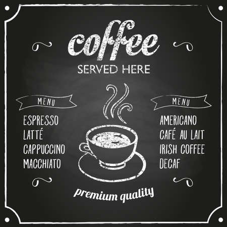 coffee: Retro coffee typography sign on a chalkboard. Can be used as menu board for restaurant or bars.