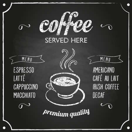 Retro segno caffè tipografia su una lavagna. Può essere usato come bordo del menu per il ristorante o bar. Vettoriali