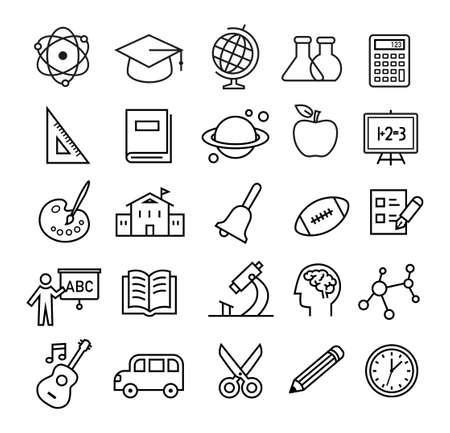 Dünne Linien-Symbol mit der Schule und Bildungsthemen gesetzt. Kann für Web, Print oder mobile Anwendungen Design verwendet werden.