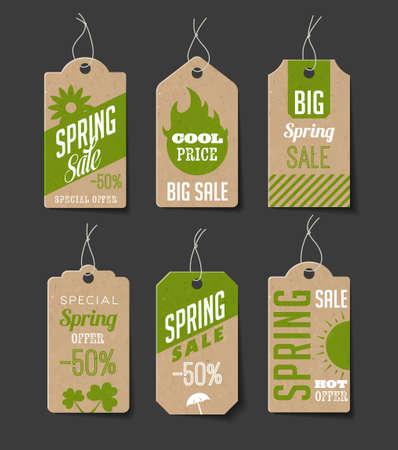 Het verzamelen van karton verkoop labels. Kan gebruikt worden als prijskaartjes. Stock Illustratie
