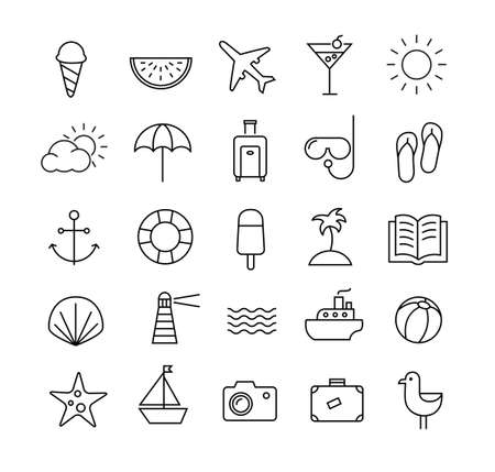 watermelon boat: Collection of icons representing summer, travel, sea, beaches and relax. Modern, thin lines style.