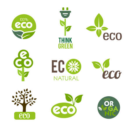 energy buttons: Collection of green icons representing nature and ecological lifestyle