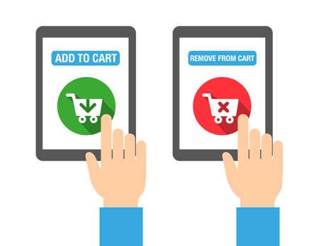 웹, 인쇄 또는 모바일 앱용 장바구니 버튼에 추가하십시오. 플랫 디자인 스타일. 일러스트
