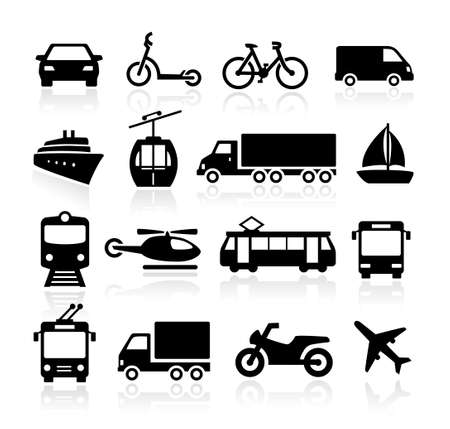 Collection of icons representing transportation and travel Ilustração